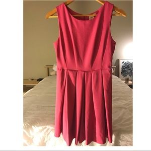 Pink fit and flare dress with pockets